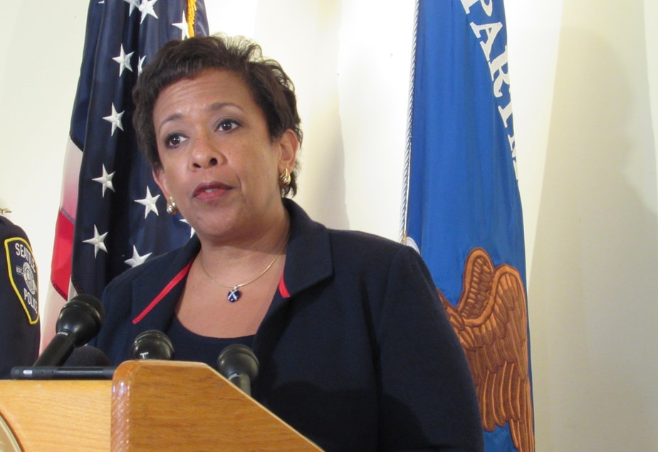 caption: Attorney General Loretta Lynch says Seattle is one of the cities that have turned the corner on policing.