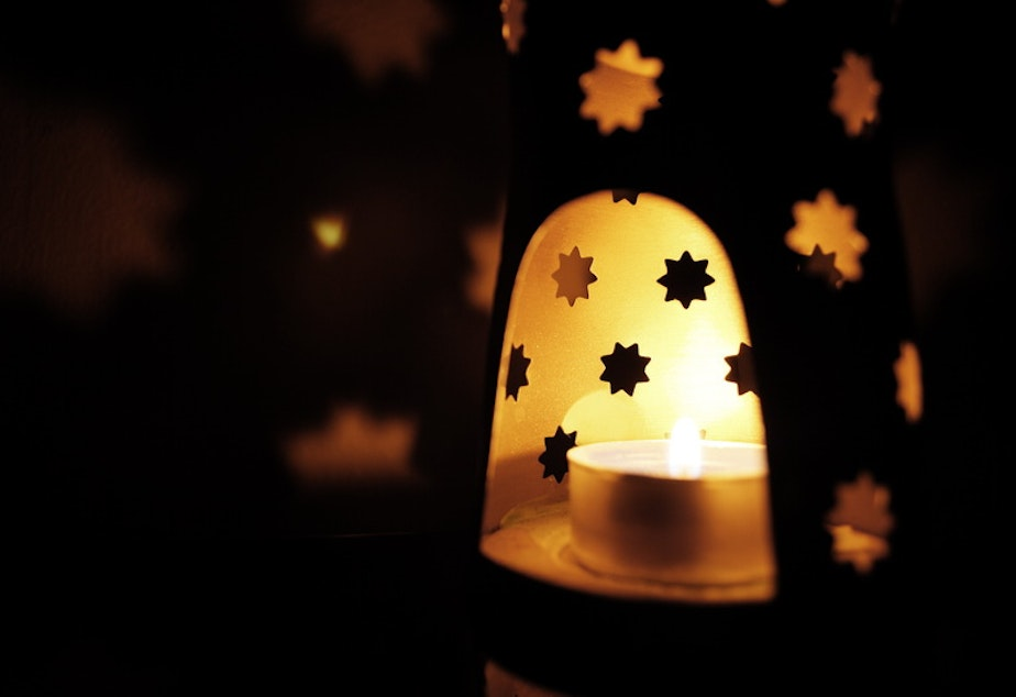caption: A decorative lantern found around homes during Ramadan.