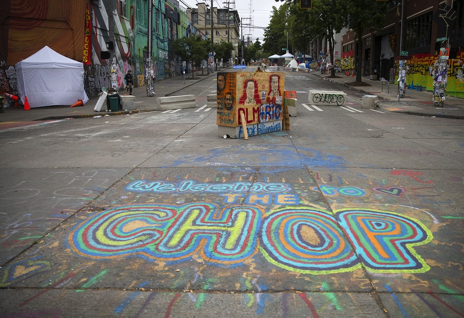 caption: The Capitol Hill Organized Protest zone, CHOP, is shown on Monday, June 29, 2020, in Seattle.