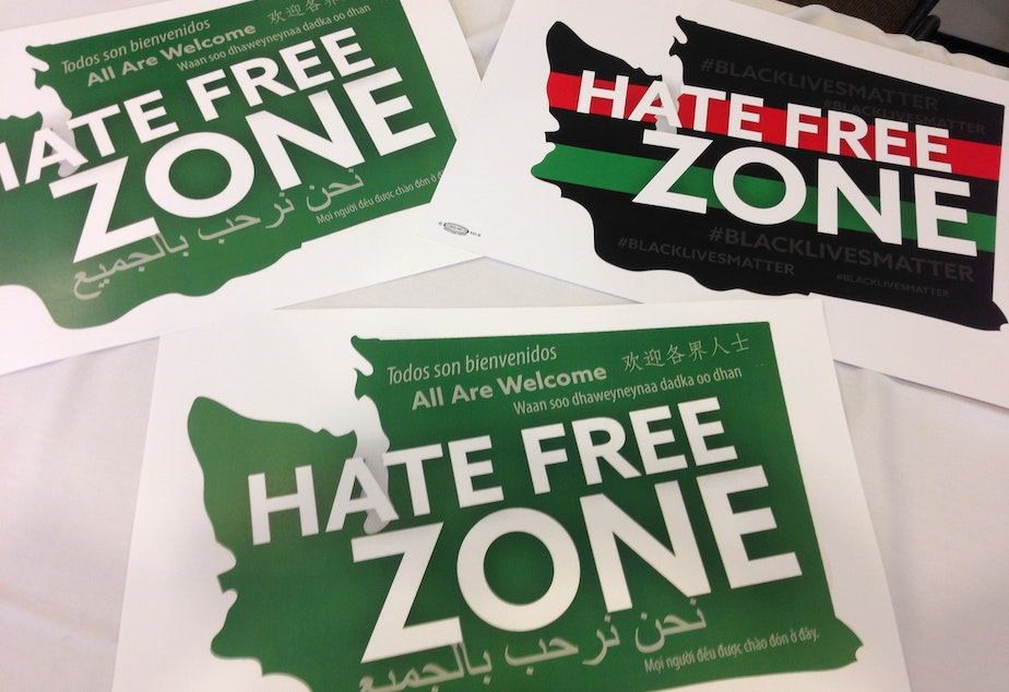 caption: Signs declaring Washington a 'hate-free state'