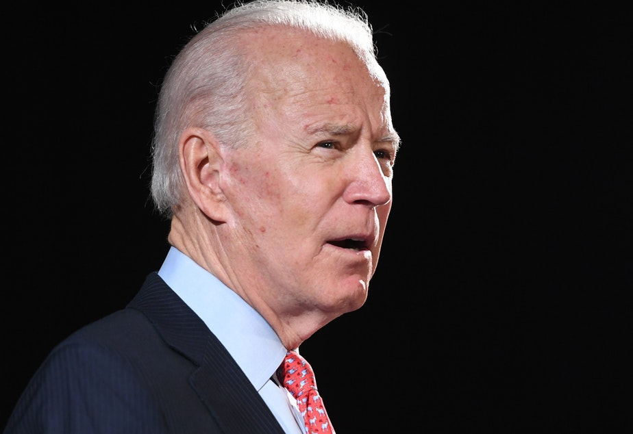 caption: Former Vice President Joe Biden, pictured on March 12, is facing backlash for comments that his campaign says were a joke about black support for him versus President Trump.