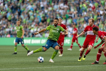 Seattle Sounders FC forward Clint Dempsey takes a kick against Chicago Fire June 23rd, 2018 at CenturyLink Field.