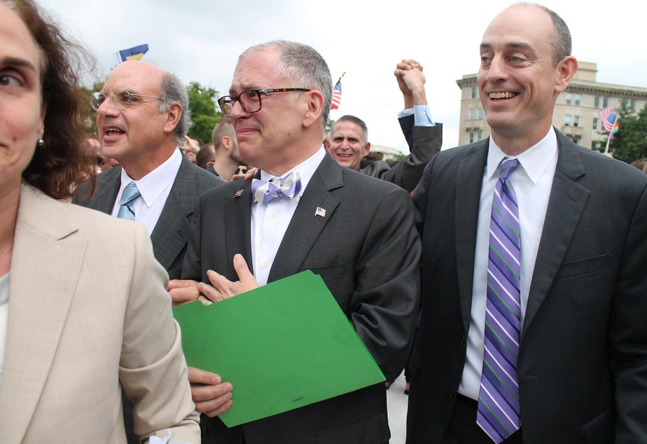 caption: James Obergefell, center. Marriage Equality Decision Day Rally in front of the U.S. Supreme Court on Friday morning, 26 June 2015 by Elvert Barnes Protest Photography