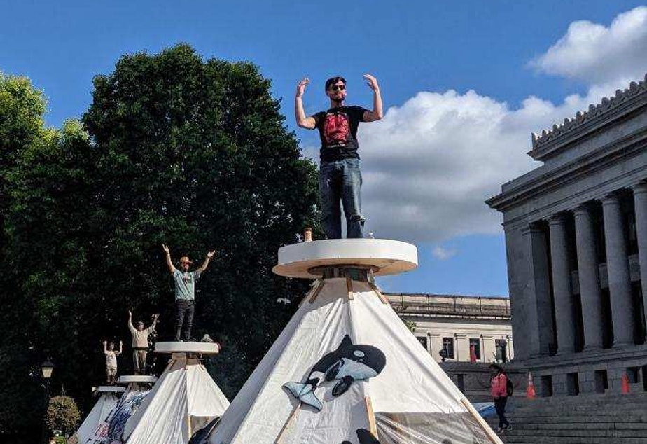 Indigenous climate activists led by Protectors of the Salish Sea set up tepees at Washington state's capitol Tuesday, September 24th 2019.