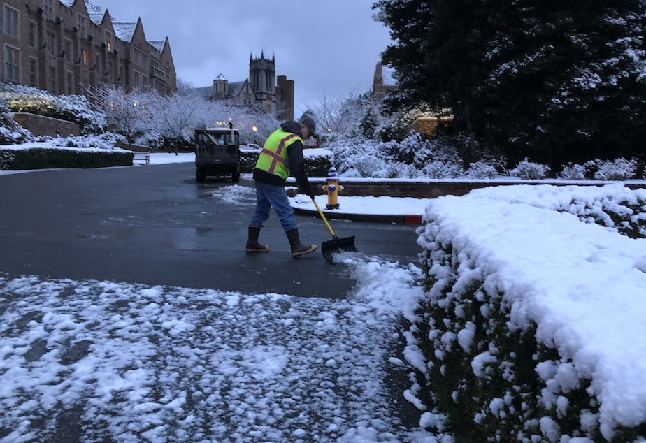 caption: Light snow fell on the Seattle area overnight into Monday. The northern part of the city saw 1-3 inches of powder.