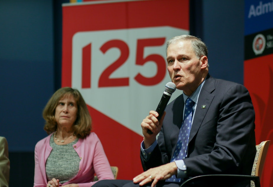 Joni Balter and Governor Jay Inslee at Seattle University