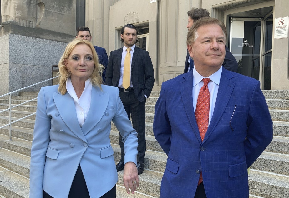 caption: Patricia McCloskey and her husband Mark McCloskey pleaded guilty to misdemeanor crimes on Thursday. They also agreed to forfeit both weapons they used when they confronted protesters in front of their home in June of last year.