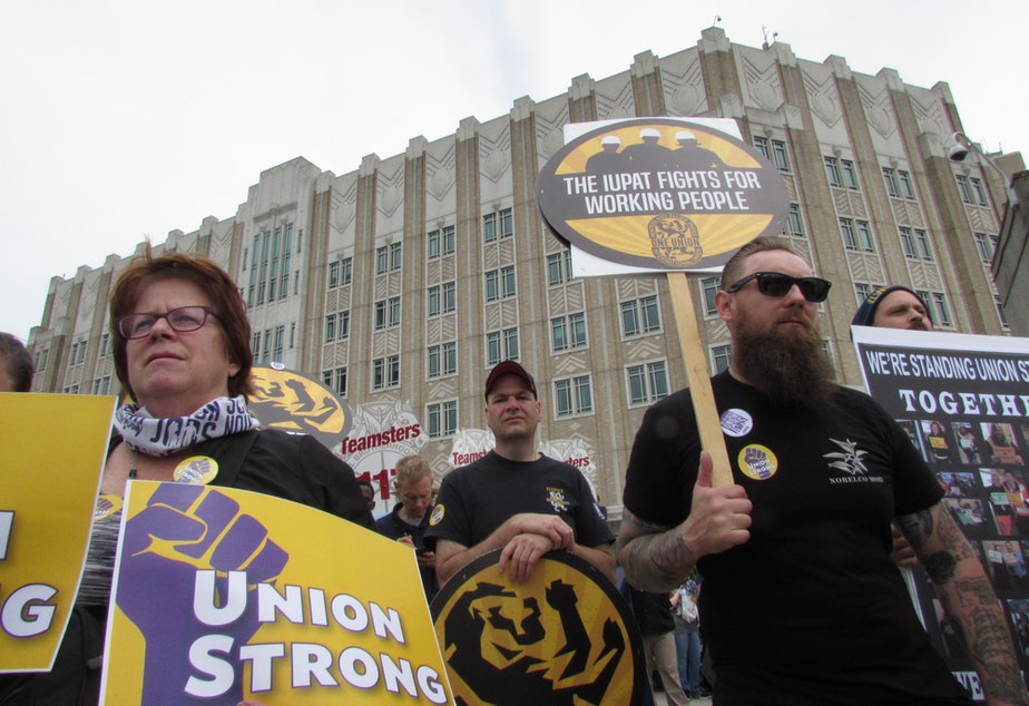 caption: At union rally Wednesday, speakers railed against the Janus verdict.  They pledged to focus on organizing and electing pro-labor candidates.