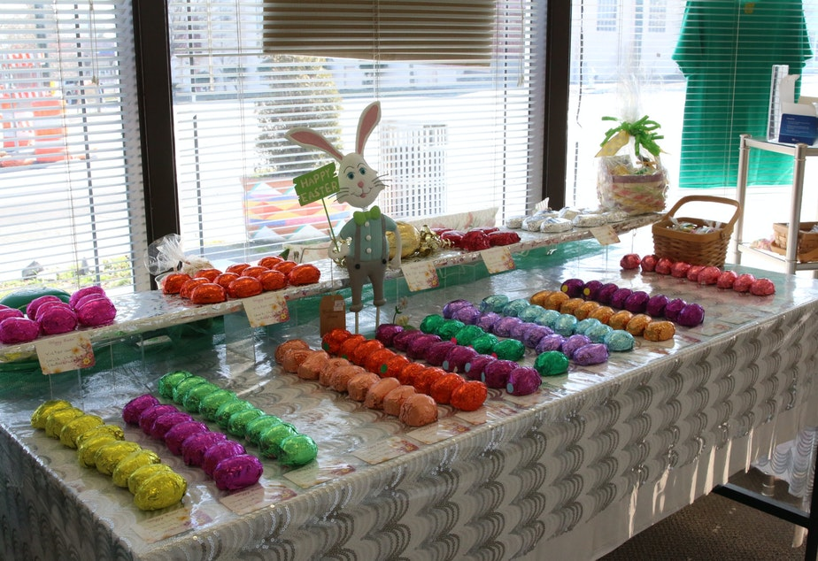 caption: Chocolate covered Easter eggs for sale at the Johnson Candy Company in Tacoma. Most of the shop's sales are done in person to local customers. This year, the pandemic has pushed them to try to sell a limited number of eggs online, to help balance the books