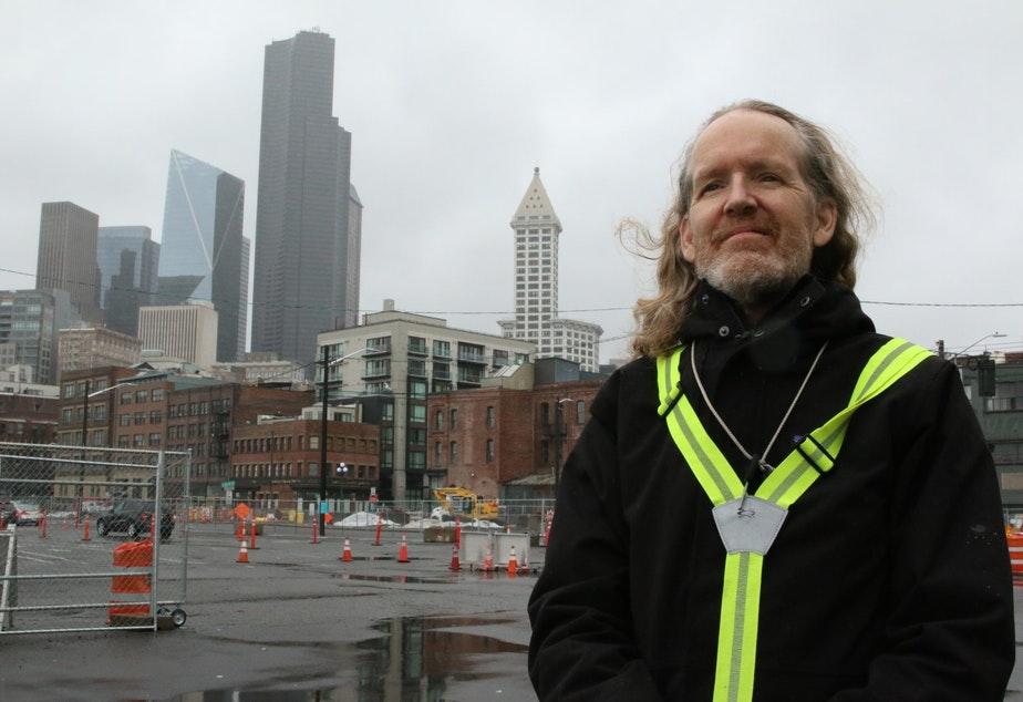 caption: Environmental activist Jordan Van Voast on the Seattle waterfront.