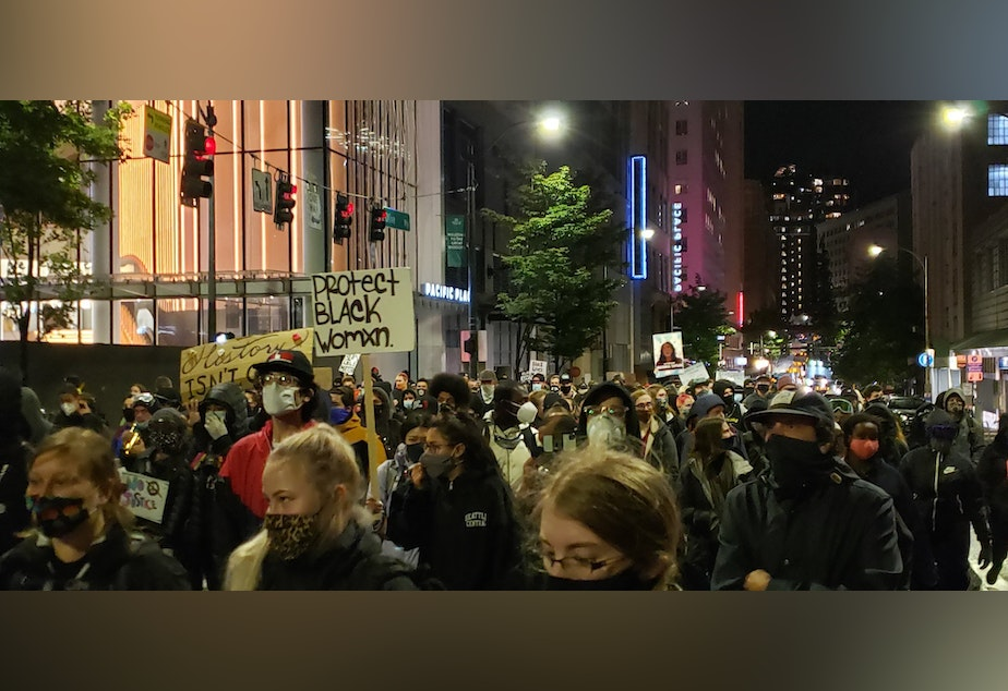 caption: A march near Westlake Park in Seattle, following an announcement about the Breonna Taylor case in Kentucky, Sept. 23, 2020.