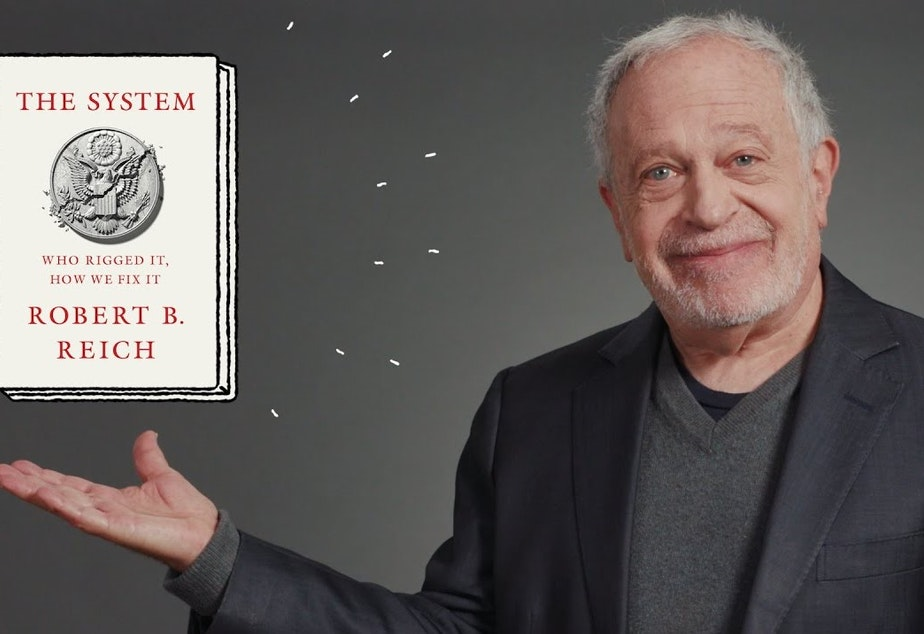 caption: Robert Reich discusses The System via livestream. Town Hall Seattle presented the program.