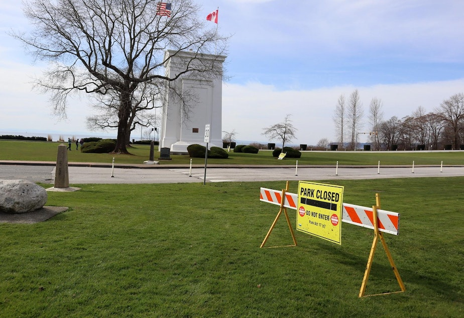 caption: The British Columbia side of Peace Arch Park remains closed, but Canadians can still access the U.S. side from an adjacent city street.