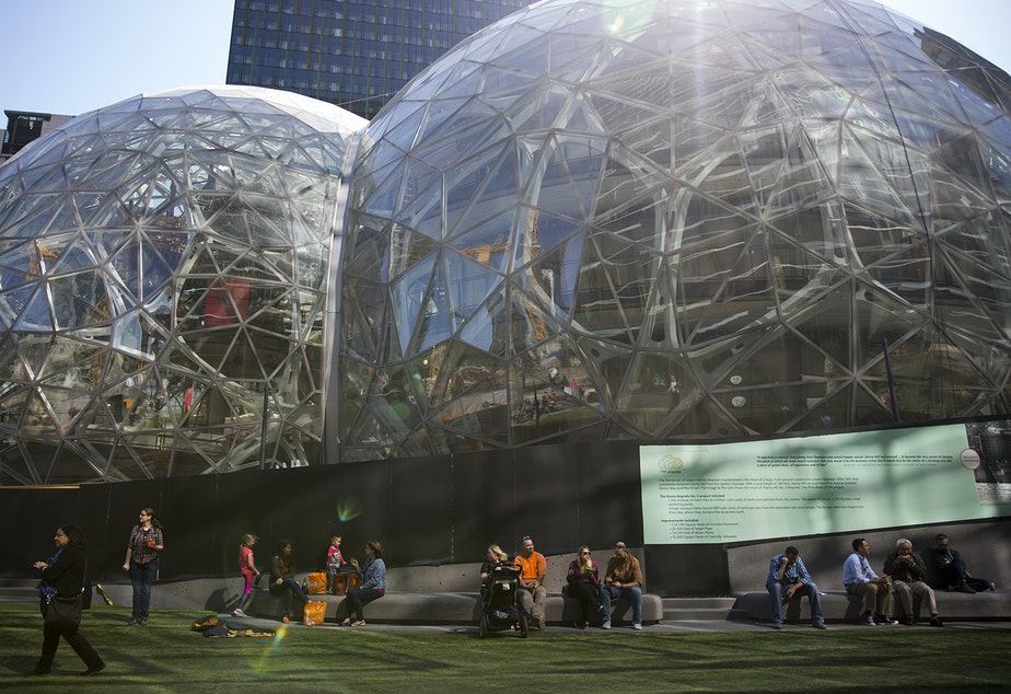 Amazon's biospheres are shown during Amazon's bring your parents to work day on Friday, September 15, 2017, in Seattle.