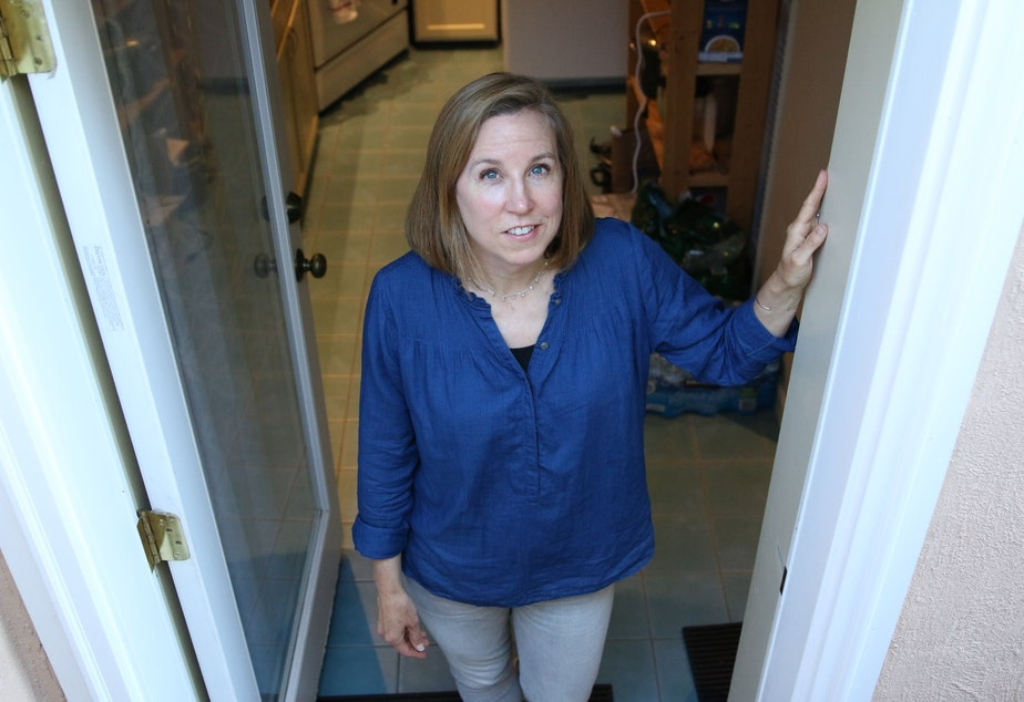 """Sarah Swanberg at the """"granny flat"""" she rents out"""
