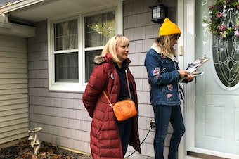 Kathleen VanPoppelen and her daughter Brooke knock doors for Elissa Slotkin, a Democrat running for Congress in Michigan. Kathleen has never voted for a Democrat before, but she'll vote for Slotkin on Election Day.