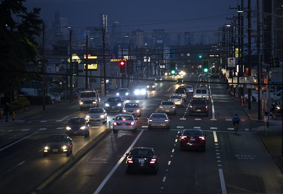 caption: Rush hour traffic is shown on Friday, October 25, 2019, along Aurora Avenue North in Seattle.
