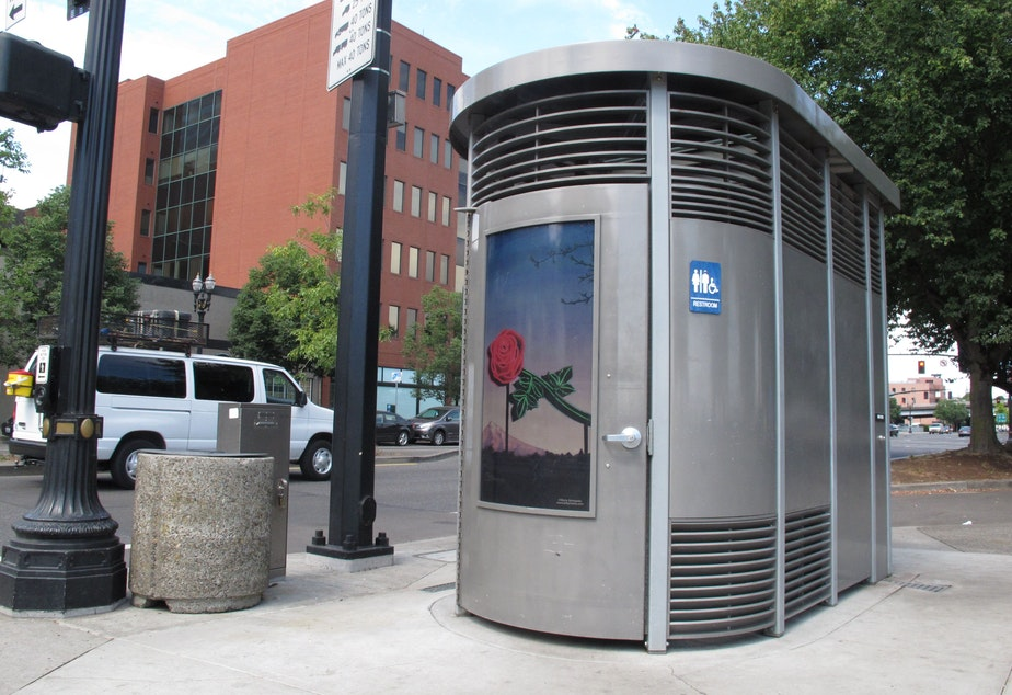 caption: This photo taken Wednesday, Aug. 21, 2013 in Portland, Ore., shows the Portland Loo, a distinctive public restroom designed to deter vandalism and misuse.