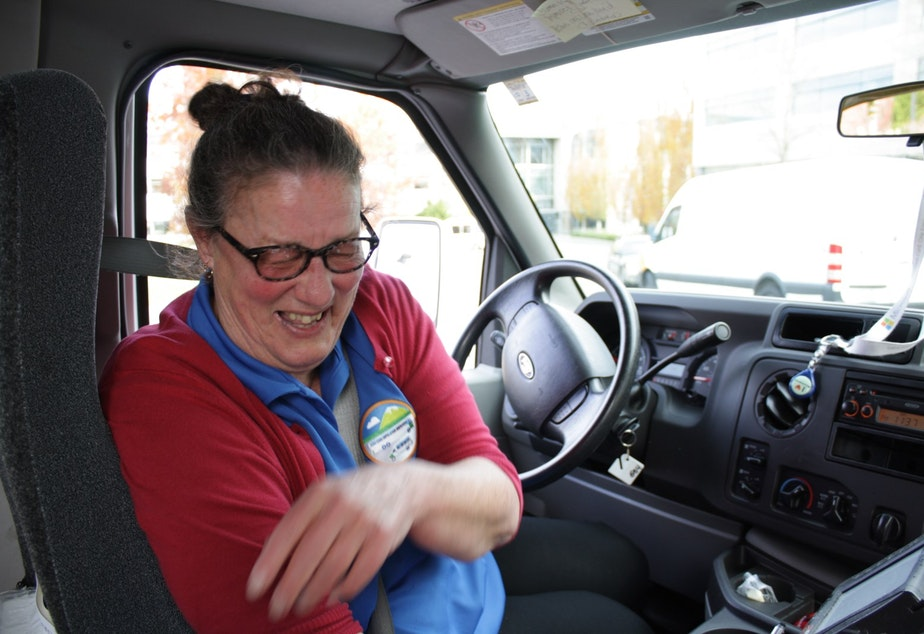Detta Hayes, 9-year driver for Microsoft's Connector bus and vanpool service. Hayes is prone to frequent bursts of laughter, such as when I asked her if her bus ever gets stuck in traffic.