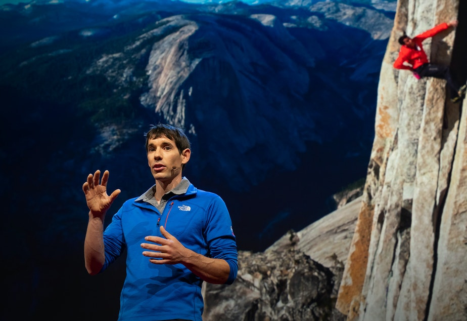 Alex Honnold on the TED stage.