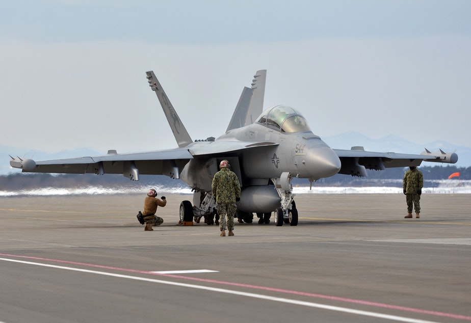 caption: The Navy wants to use mobile signal trucks on the Olympic Peninsula in Washington state to train pilots of EA-18G Growlers in electronic warfare.