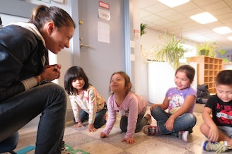 Maria Martin teaches Lushootseed to preschoolers at the Tulalip Montessori School.