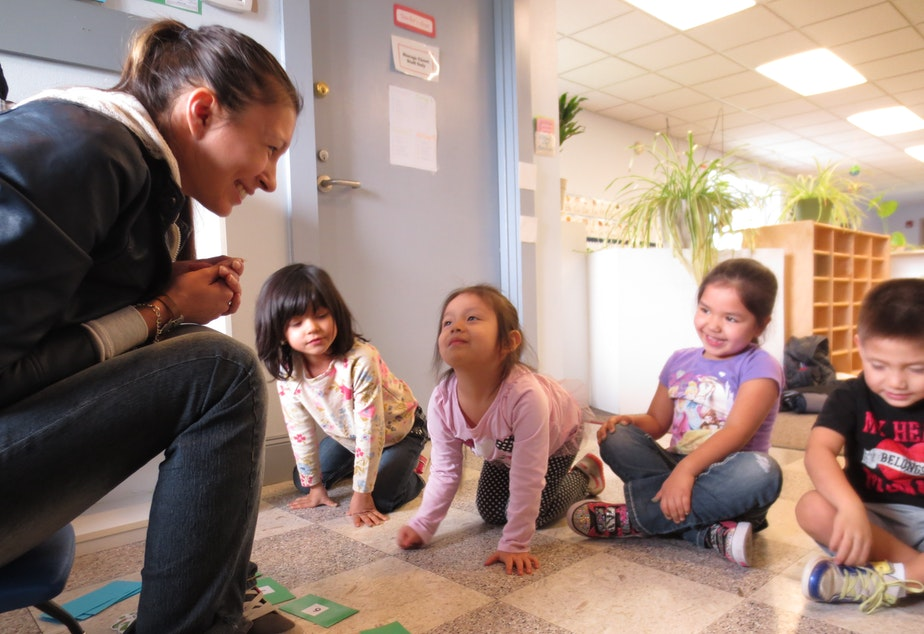 caption: Maria Martin teaches Lushootseed to preschoolers at the Tulalip Montessori School.