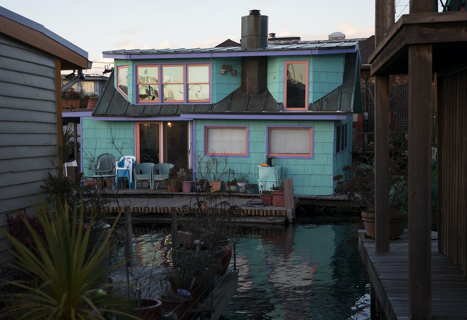 A houseboat is shown on Tuesday, January 30, 2018, off of Fairview Avenue East in Seattle.