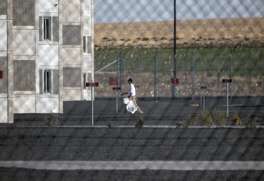 caption: Coyote Ridge Corrections Center in Eastern Washington.