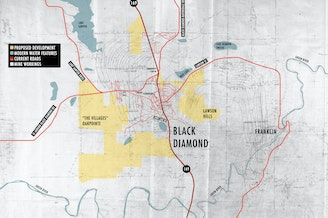For this map, we combined a map from 1919 with Google maps to approximate modern roads and living areas. We then took satellite maps from the City of Black Diamond showing proposed new developments and sketched those out as well.