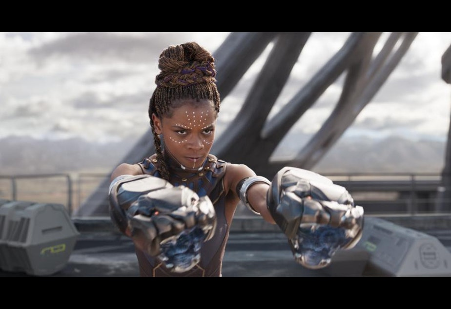 Shuri readies for a fight in new Marvel film Black Panther.