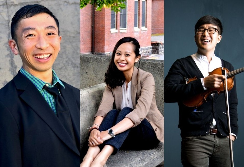 caption: From left to right, KUOW's On Asian America panelists: University of Washington professor Douglas Ishii, Eastern Oregon University professor Tabitha Espina, musician Joe Kye.