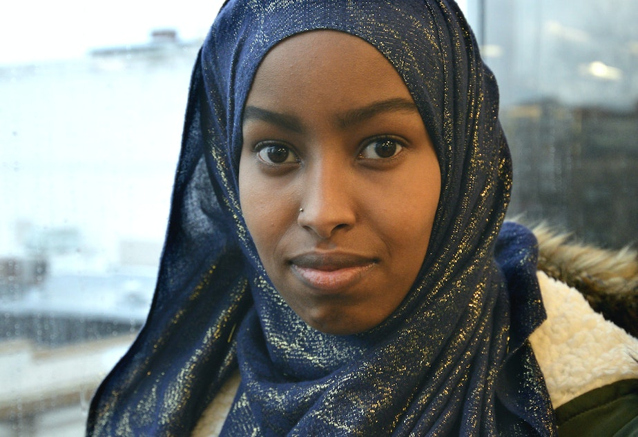caption: 'No one deserves this,' says UW student Nasro Hassan. She says she was attacked on the University of Washington campus Nov. 15.
