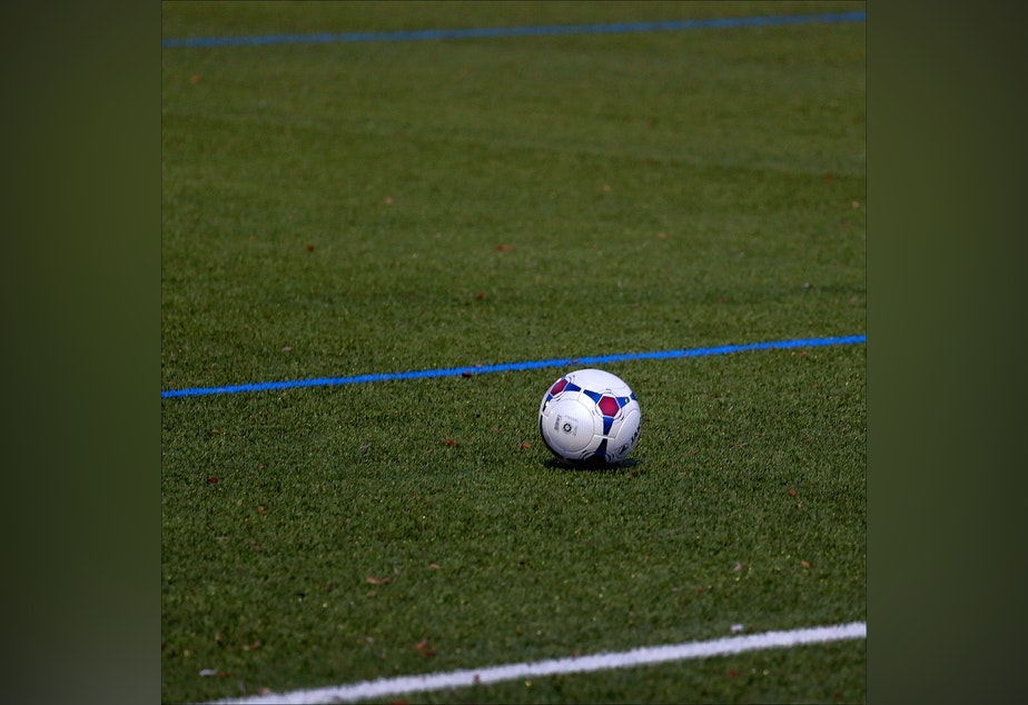 Soccer ball on artificial truf