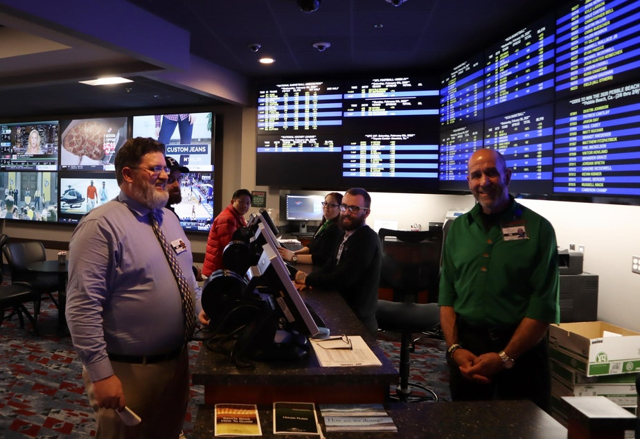 caption: Chinook Winds Casino opened the first legal sportsbook in Oregon back in August.