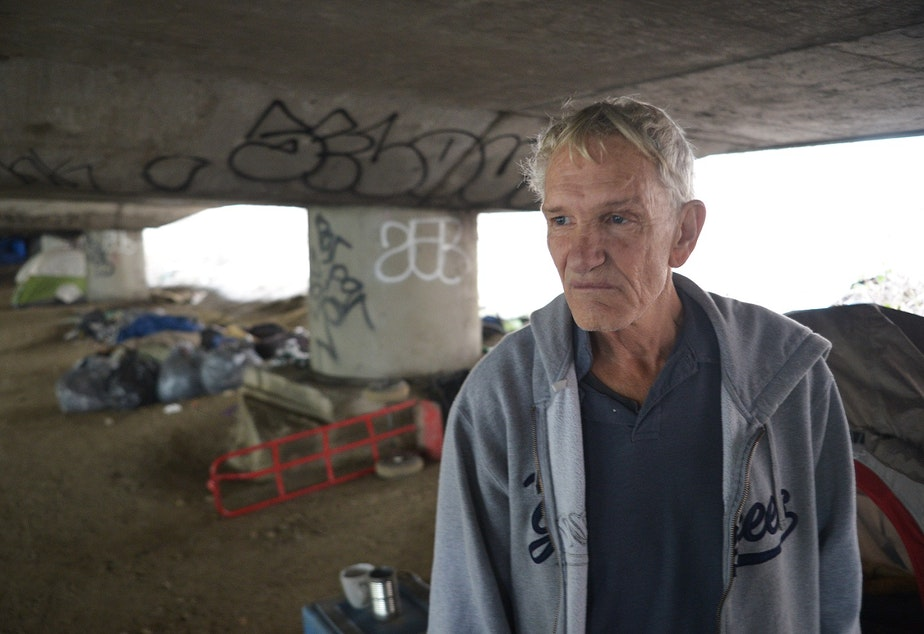Donald Slyter, a resident of The Jungle, a homeless encampment in Seattle believed to have been around since the 1930s. It gets its name from the name for homeless encampments at the time -- hobo jungles.