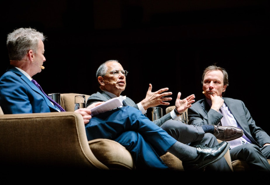 Left to right, Timothy Egan, Dean Baquet and Jim Rainey