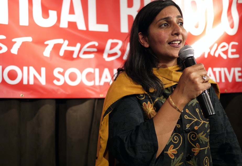 City Councilmember Kshama Sawant speaks at her election night party at Melrose Market in Seattle on Tuesday, Nov. 3, 2015.