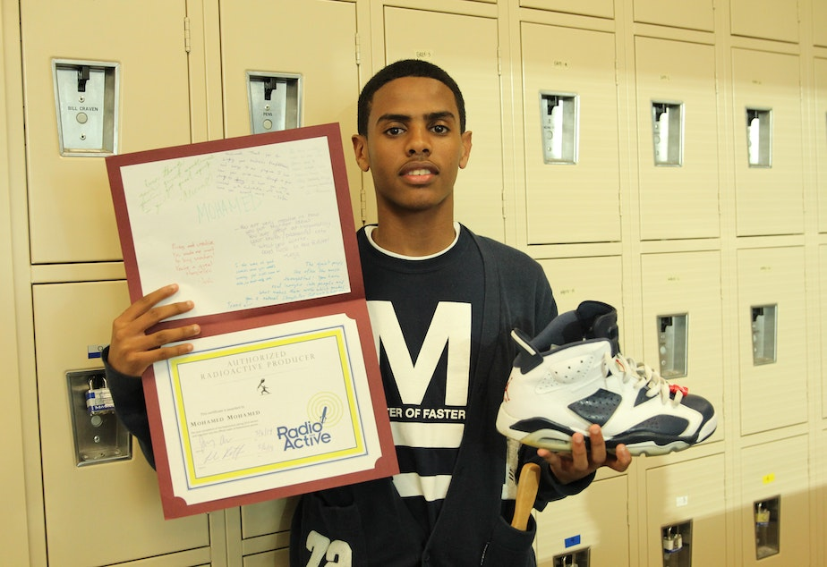 e064ee6e2287 RadioActive youth reporter Mohamed Mohamed is a self-described sneakerhead.  Here he poses with