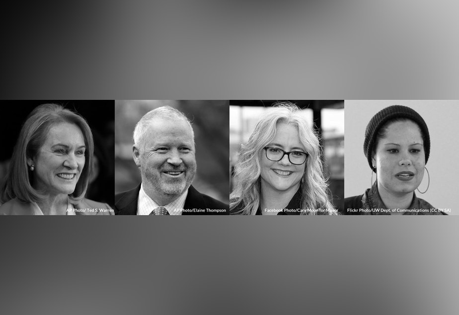 Mayoral candidates Jenny Durkan, Mike McGinn, Cary Moon and Nikkita Oliver.