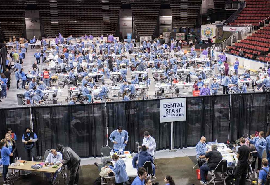 caption: People get free dental care at the 2015 Seattle King County free clinic