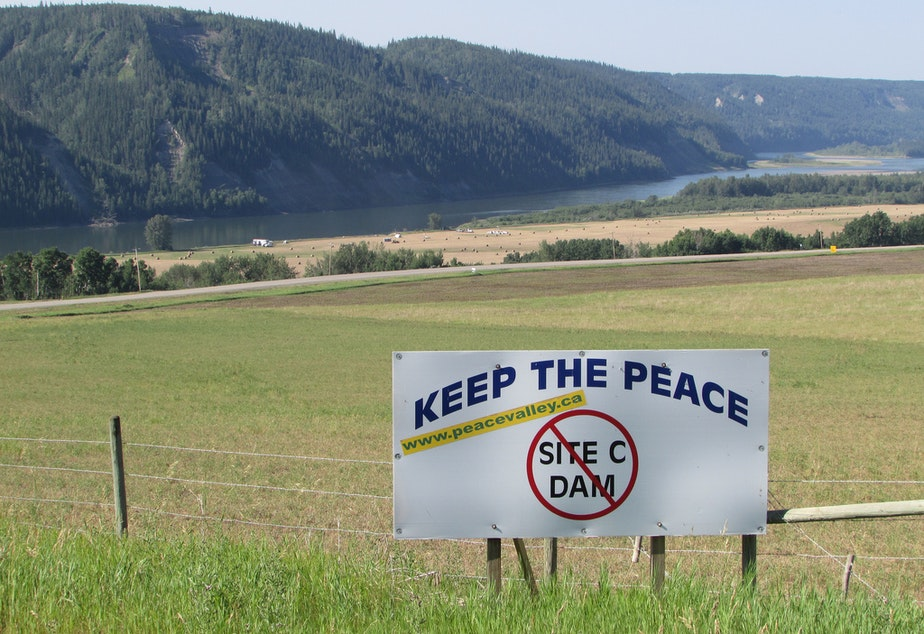 A sign along Highway 29 between Fort St. John and Hudson's Hope, British Columbia, protests the proposed Site C dam.