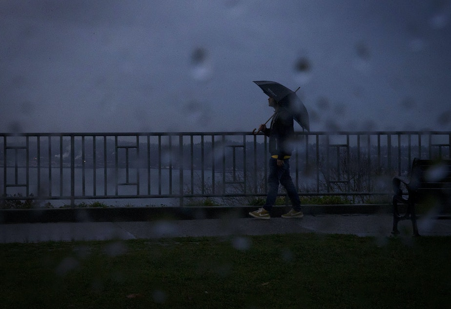 caption: A pedestrian walks through the rain in November 2019 at Kerry Park in Seattle.