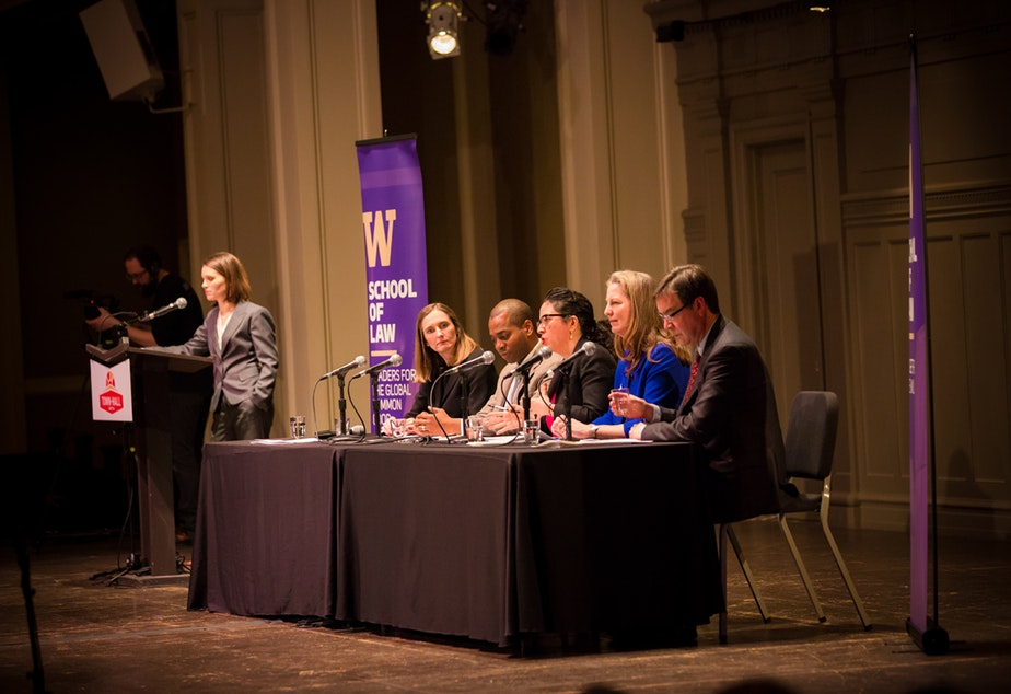 caption: 'Presidential Power in 2017' panel at Town Hall Seattle