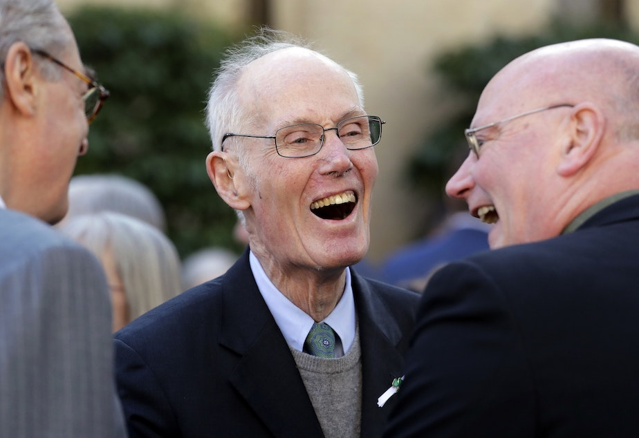 Former U.S. Sen. Slade Gorton shares a smile with friends following a joint funeral Mass for former Gov. John Spellman and his wife, Lois Spellman, at St. James Cathedral Monday, Feb. 12, 2018, in Seattle. John Spellman, the last Republican to serve as Washington's chief executive, died last month at the age of 91. Lois Spellman, his wife of 63 years, died days later.