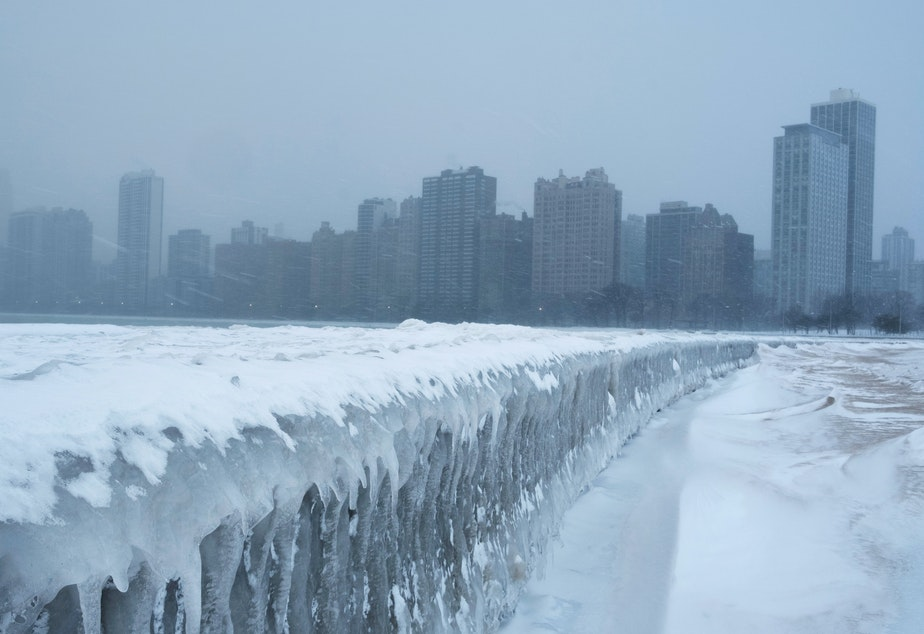 Icicles form on the walkway at North Avenue Beach of Lake Michigan in Chicago.