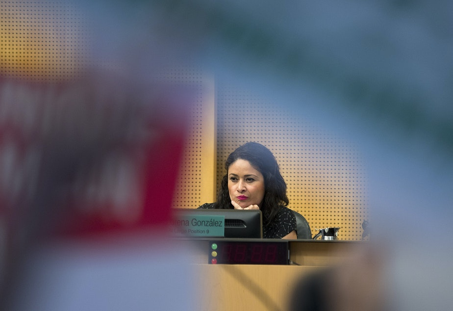 Councilmember Lorena González listens to public comment on Tuesday, June 12, 2018, inside City Council Chambers at City Hall in Seattle.