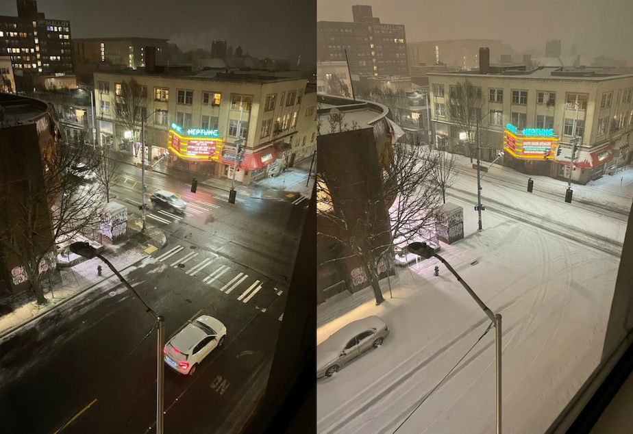 caption: A corner at Seattle's University District at 8 p.m. Friday, Feb. 12 and at 4:30 a.m. Saturday, Feb. 13.