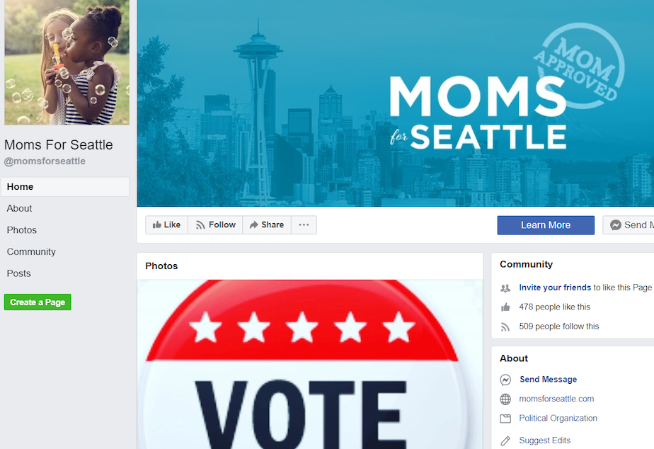 A screenshot from Facebook shows the Moms for Seattle page.