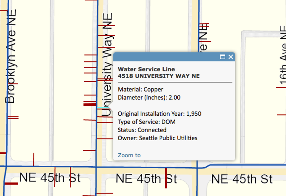 Screenshot of the water service map.